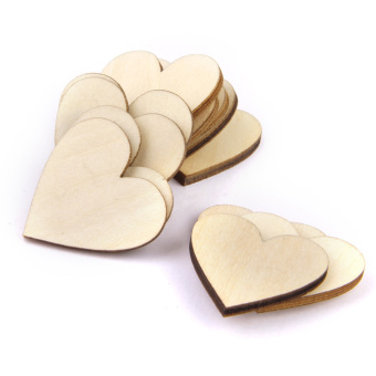 Basswood Blank Peach Heart Embellishments For Diy Crafts 20mm 100pieces - picture 2