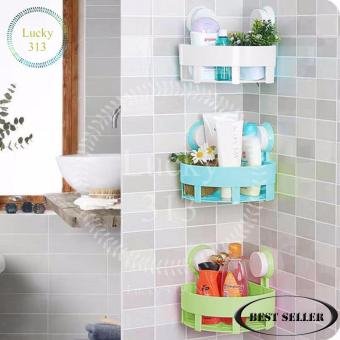 Bathroom Corner Storage Shelf Holder Organizer Set Of 3 (White BlueGreen)
