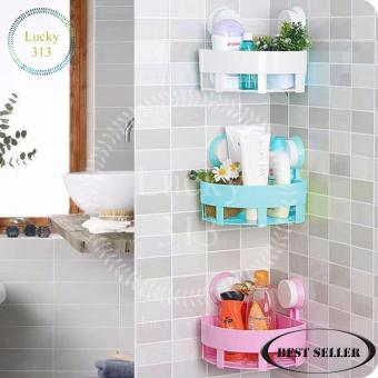 Bathroom Corner Storage Shelf Holder Organizer Set Of 3 (White BluePink)