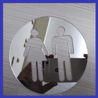 Bathroom Entrance Sign with Men and Women Toilet Acrylic MirrorWall Door Stickers - Silver - intl