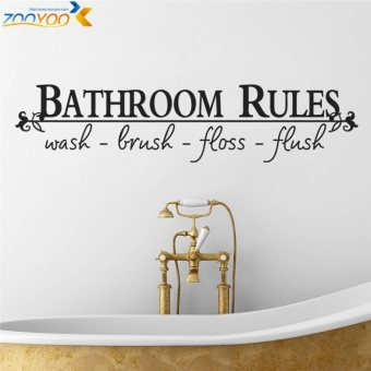 bathroom rules home decoration creative quote wall decals zooyoo8044 decorative adesivo de parede removable vinyl wall stickers - intl