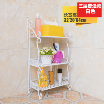Bathroom wrought iron floor-pod storage rack