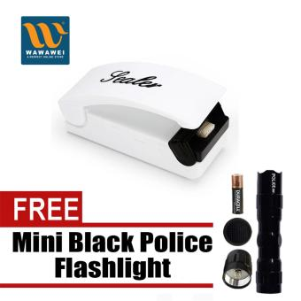 Battery-Operated Plastic Bag Mini Sealer with free Mini BlackPolice Flashlight