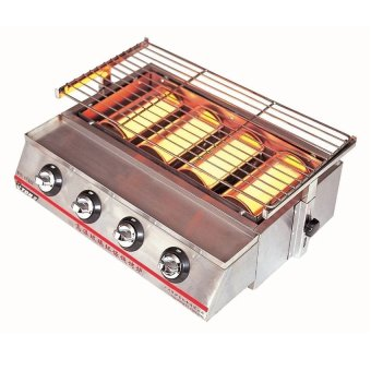 BBQ Gas Grill ET-K22 Fumeless 4 Head Roaster (silver)