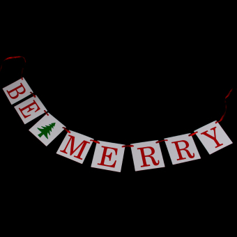 BE MERRY Banner Christmas Winter Bunting Photo Props - picture 2