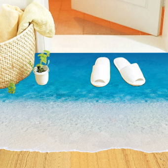 Beach bedroom floor living room wall adhesive paper floor stickers