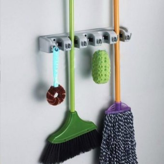 Beau Wall Mounted Mop Organizer Holder Brush Broom Hanger Storage Rack Kitchen Tool Cyan & Gray 3 friction grips and 4 hooks - intl