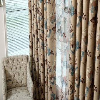 Beautiful Elegant Flowers Prints Blackout GYC2022-1 Curtain Blue - 4