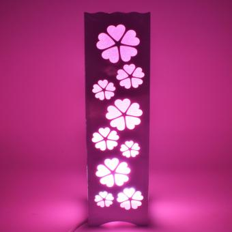 Beautiful Hollow Pattern Flower Shape Night Light Lamp (Pink)