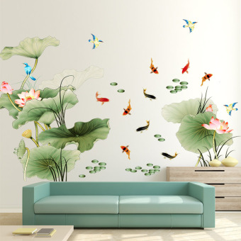 Bedroom room decorations living room wall self-sticky paper Lotus