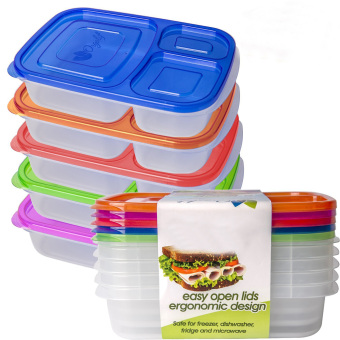 Bento Lunch Box Container Food Storage 3-compartment Eco Friendlyfor Kids, Reusable Lunchbox Made with High Quality PlasticMicrowavable Dishwasher Safe Bpa Free Perfect for School and Office(Set of 5) - Intl