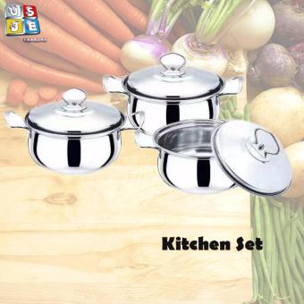 Best Home (NEW) Best Quality Stainless Steel Ware 3 pcs Kitchen Camber Pot