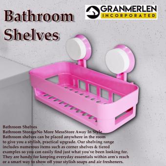 Best way Wall Suction Multipurpose-Holder Bathroom Shelves - Pink