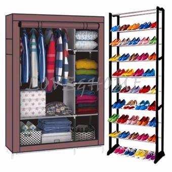 Better One 105NT Zipper Fashion Storage Wardrobe (Brown) With High Quality Amazing Shoe Rack (Black)