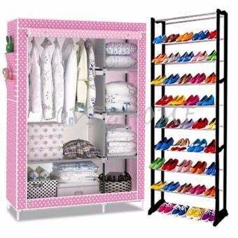Better One 105NT Zipper Fashion Storage Wardrobe (Pink Dog) With High Quality Amazing Shoe Rack (Black)