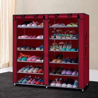 Better One High Quality Double Capacity 6 Layer Shoe Rack Shoe Cabinet (Red) Price Philippines