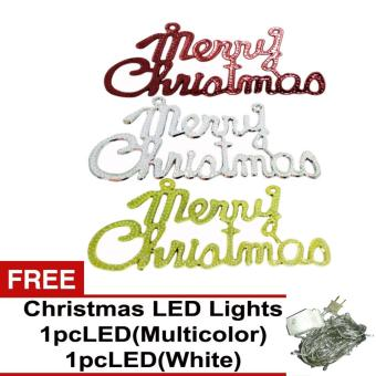 Beverly's Christmas Tree Decorations Pack of 3 ( QQSD-07 ) with Free 2 pcs LED Christmas Light ( White & Multicolor )