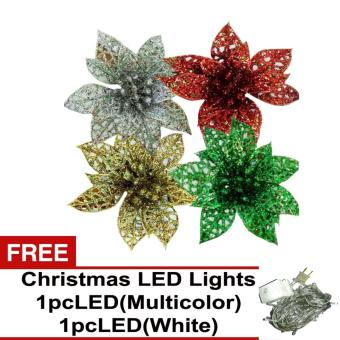 Beverly's Christmas Tree Decorations Pack of 3 ( QQSD-21 ) withFree 2 pcs LED Christmas Light ( White & Multicolor )