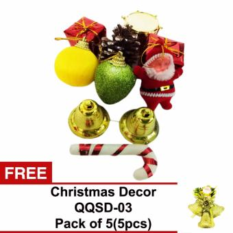 Beverly's Christmas Tree Decorations (QQSD-01)Pack of 3(30pc) withFree Christmas Decor ( QQSD-03)Pack of 5(5pcs)