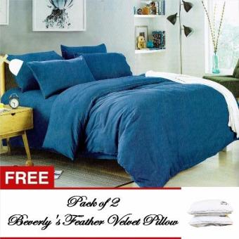 Beverly's Linen Collection Plain Comforter Set of 4 (Blue) Kingwith Free Feather Velvet Pillow Pckof2 Price Philippines