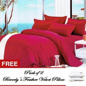 Beverly's Linen Collection Plain Comforter Set of 4 (Burgundy) Twinwith Free Feather Velvet Pillow Pckof2 Price Philippines
