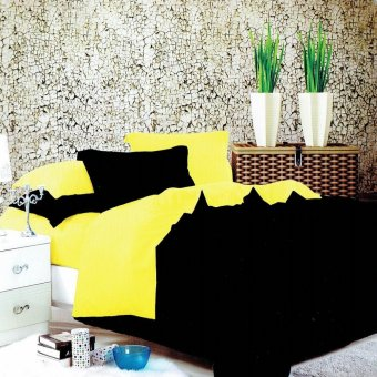 Beverly's Premium Linen Collection 2 Tone Bedsheet Set of 4(Black/Yellow)