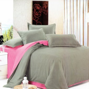 Beverly's Premium Linen Collection 2 Tone Bedsheet Set of 4(Grey/Pink)