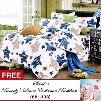 Beverly's Special Linen Collection Set of 3Bedsheet(BBL-132)Full(Double)with Free Beverly's Special LinenCollection Set of 3 Bedsheet(BBL-138)Full(Double)