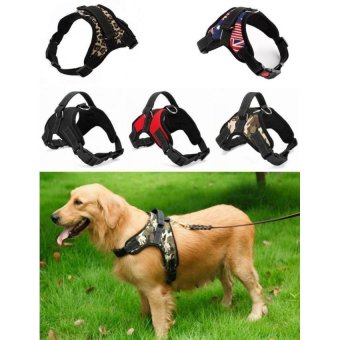 Big Dog Soft Harness Adjustable Pet Dog Big Exit Harness VestCollar Strap for Small and Large Dogs Pitbulls - Black(S) - intl