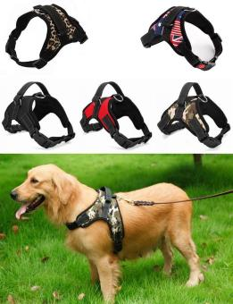 Big Dog Soft Harness Adjustable Pet Dog Big Exit Harness VestCollar Strap for Small and Large Dogs Pitbulls - Camouflage(S)