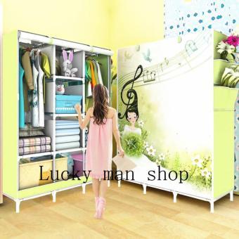 BIG size Fashion 3D Panoramic View Simple Wardrobe (Blue)