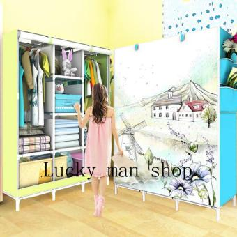 BIG size Fashion 3D Panoramic View Simple Wardrobe (Blue)