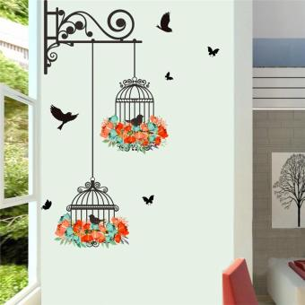 Birds on Cage Colorful Flowers Butterfly Home Decor Living Room Wall Stickers Door Decals Bedroom Mural Art Posters Diy Wallpaper - intl