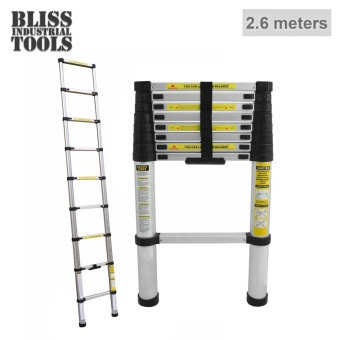 B.I.T. 2.6m Multipurpose Telescopic Extending Aluminum Ladder (Silver)