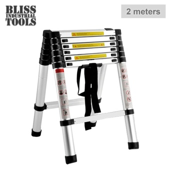 B.I.T. 2m Multi-Functional Telescopic Extension Aluminum 2+2 Ladder (Silver)