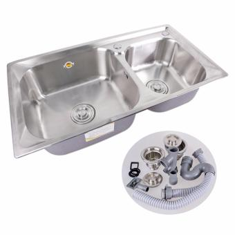 B.I.T. 81x43x23cm SUS 304 Stainless Steel 2 Double Tubs KitchenSink Set (SIlver)