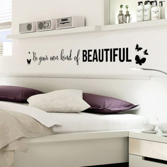 Black English Letters Butterflies Wall Sticker Decal Wallpaper PVC Mural Art Home Picture Wall Paper for House Room Decoration