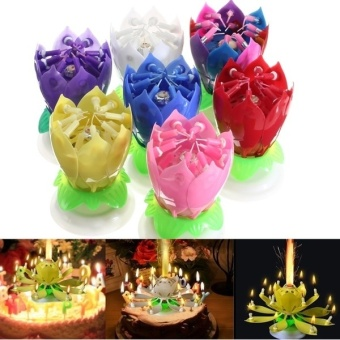Black Horse Lovely Musical Lotus Flower Rotating Happy BirthdayParty Gift Candle Lights ?C multicolor