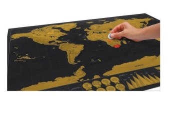 Black Luxury Scratch World Map Cylinder Packing Home Decor Gift - 3