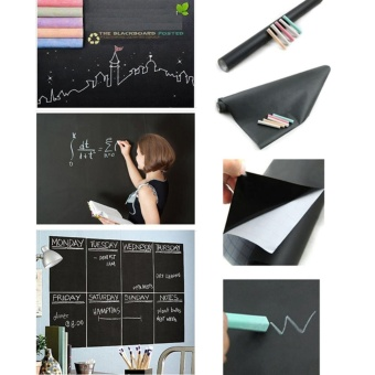Blackboard Vinyl Peel and Stick Self Adhesive Chalkboard Wall Sticker with 5 Chalks- Big Roll,45*200cm - intl
