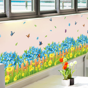 Blue Flower baseboard room adhesive paper wall stickers