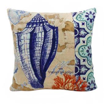 Blue lans Shell Throw Pillow Case (Blue/White)