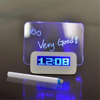 Blue LED Fluorescent Digital Alarm Clock with Message Board USB 4 Port Hub - intl Price Philippines