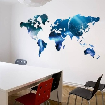 Blue Planet World Map Wall Stickers Living Room Decorations Diy Print Mural Art Home Decals Poster - intl