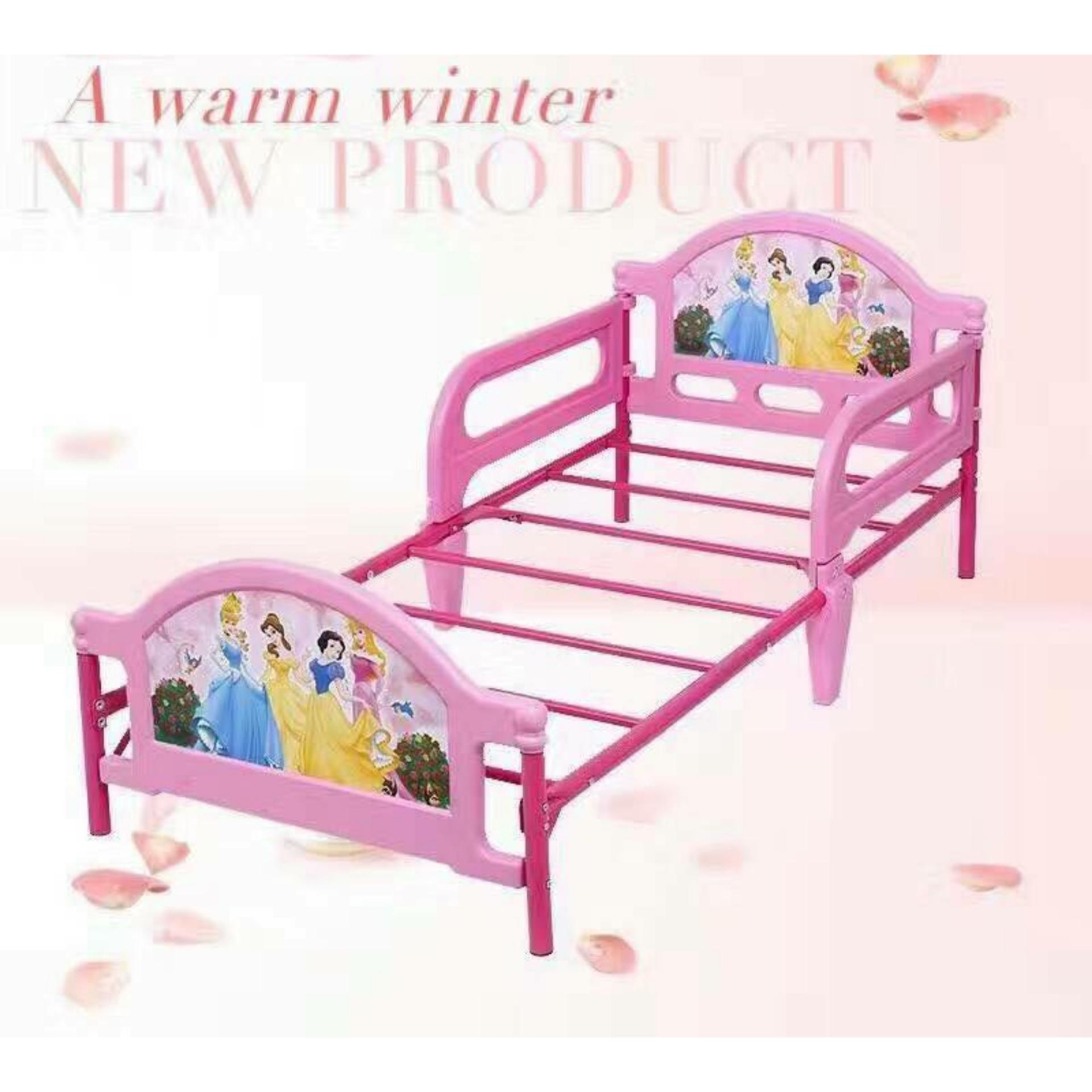 BodegaSurplusTools Kiddie Bed Frame Toddler Princess DesignKids Bedroom Furniture PINK Adjustable Extendable