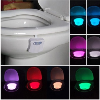 Body Sensing Automatic LED Motion Sensor Night Lamp Toilet BowlBathroom Light - intl