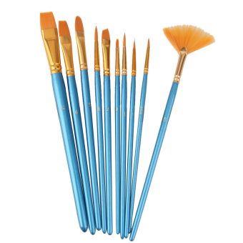 BolehDeals 10pcs Assorted Size Artist Painting Nylon Brushes - Blue Gold Price Philippines