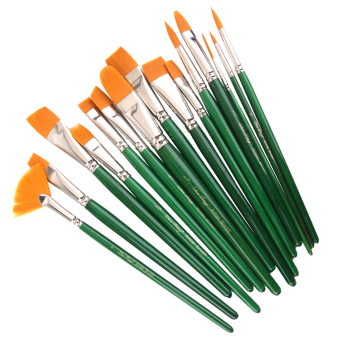 BolehDeals 15pcs Pro Artist Painting Nylon Brushes Assorted Size with Box -Green