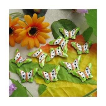 BolehDeals 2 Pcs Beautiful Cloisonne Enamel Butterfly Bead -- (Bright Green)