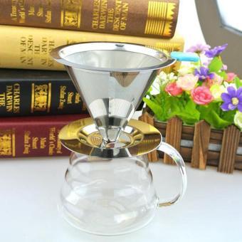 BolehDeals Stainless Pour Over Drip Mesh Coffee Tea Cone Filter Holder Maker #2 90mm - intl - 5